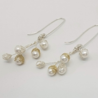 Baya Long Pearl Cluster Earrings