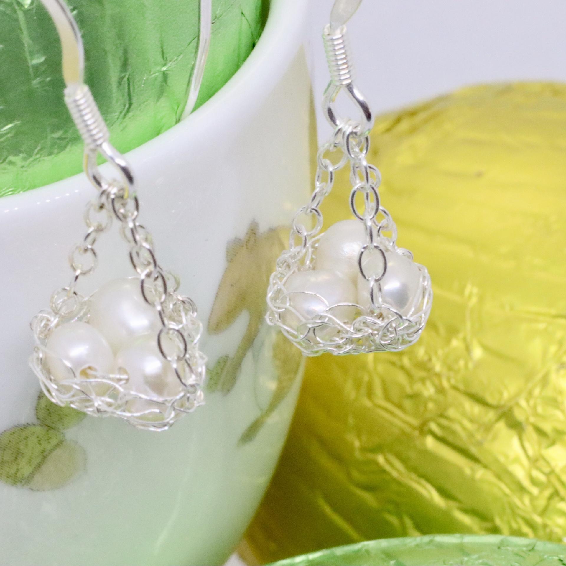 Easter nest crocheted silver earrings