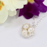 Silver crocheted Easter nest necklace